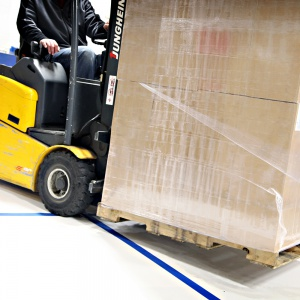 forklift on top of corrugated plastic