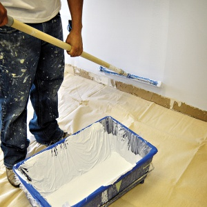 paint roller on buty ll drop cloth