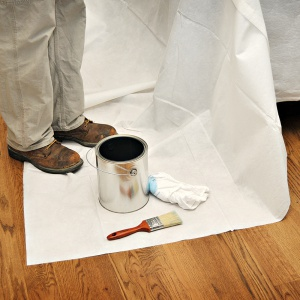 paint can on double guard drop cloth