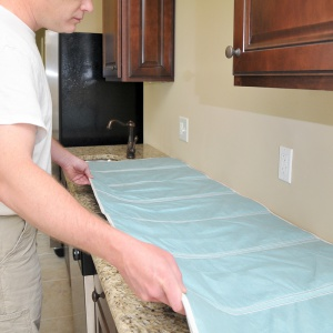 quick drop cloth on counter