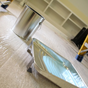 paint can on protective carpet film