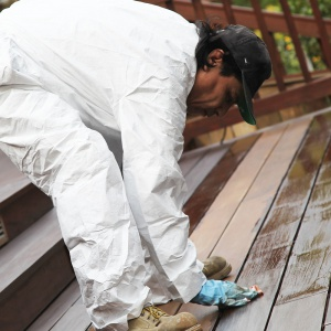 staining with all purpose coveralls