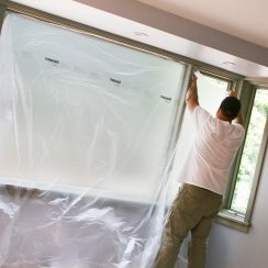 cling cover plastic sheeting on windows