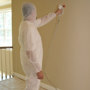 painting inside with polypropylene coveralls
