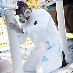 working in dupont tyvek coveralls