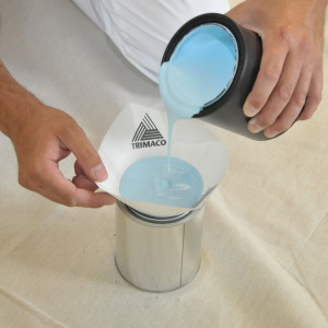 blue paint in cone strainer