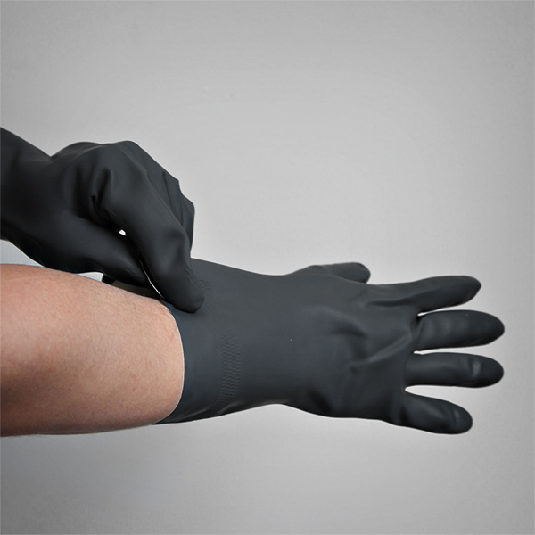 Professional Protective Black Rubber Gloves Image 1
